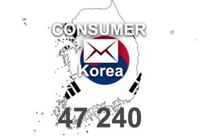2020 fresh updated Korea 47 240 Consumer email database
